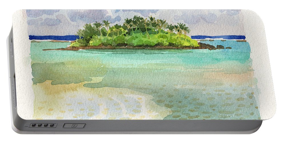 Landscape Portable Battery Charger featuring the painting Motu Taakoka by Judith Kunzle