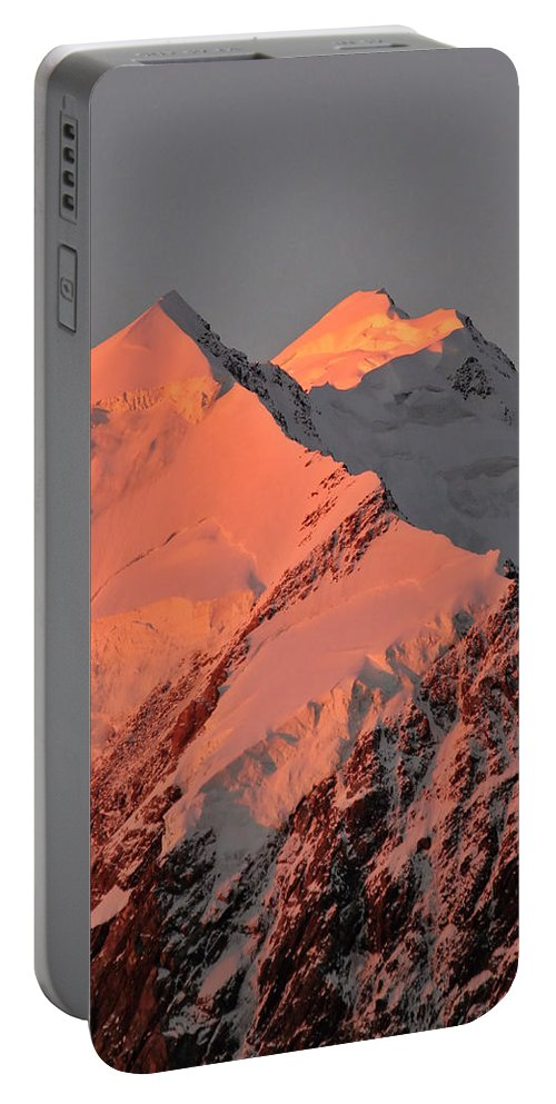 Snow Portable Battery Charger featuring the digital art Mount Cook Range On South Island In New Zealand by Mark Duffy