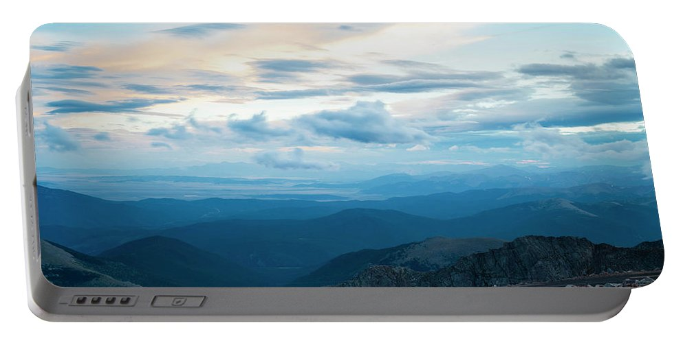 Mount Evans Portable Battery Charger featuring the photograph Mount Evans by Angie Harris
