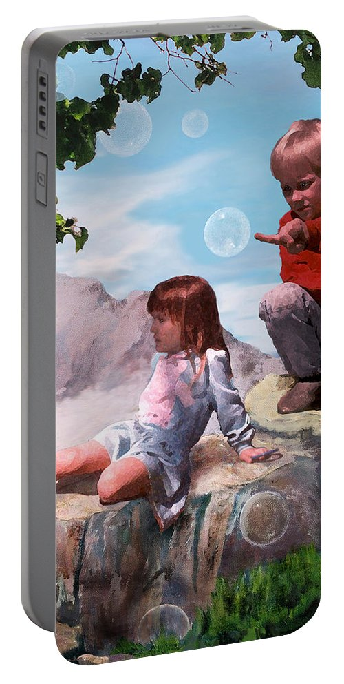 Landscape Portable Battery Charger featuring the painting Mount Innocence by Steve Karol