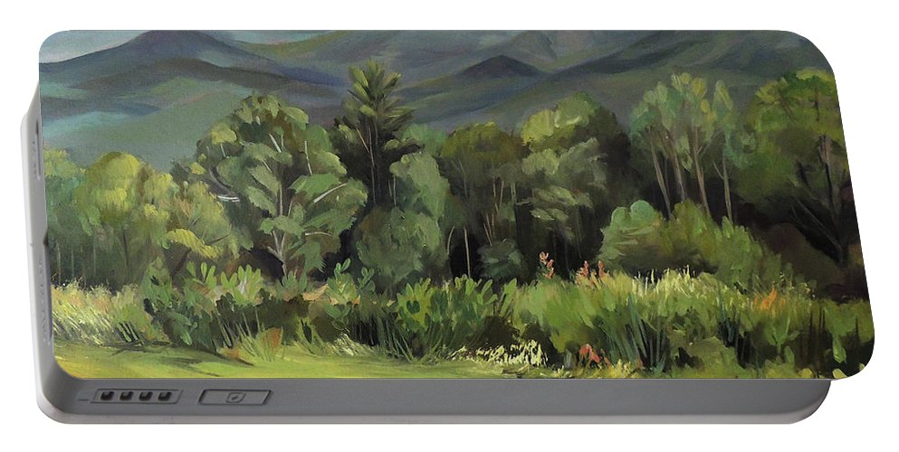 White Mountain Paintngs Portable Battery Charger featuring the painting Mount Lafayette From Sugar Hill New Hampshire by Nancy Griswold