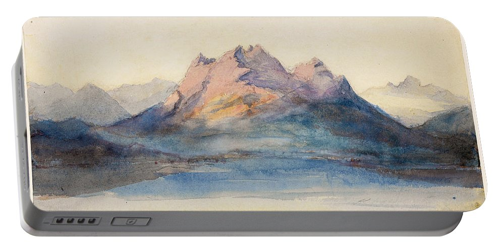John Ruskin Portable Battery Charger featuring the drawing Mount Pilatus From Lake Lucerne, Switzerland by John Ruskin