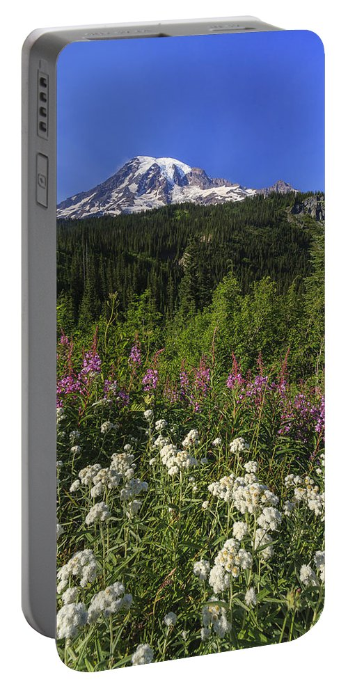 3scape Portable Battery Charger featuring the photograph Mount Rainier by Adam Romanowicz