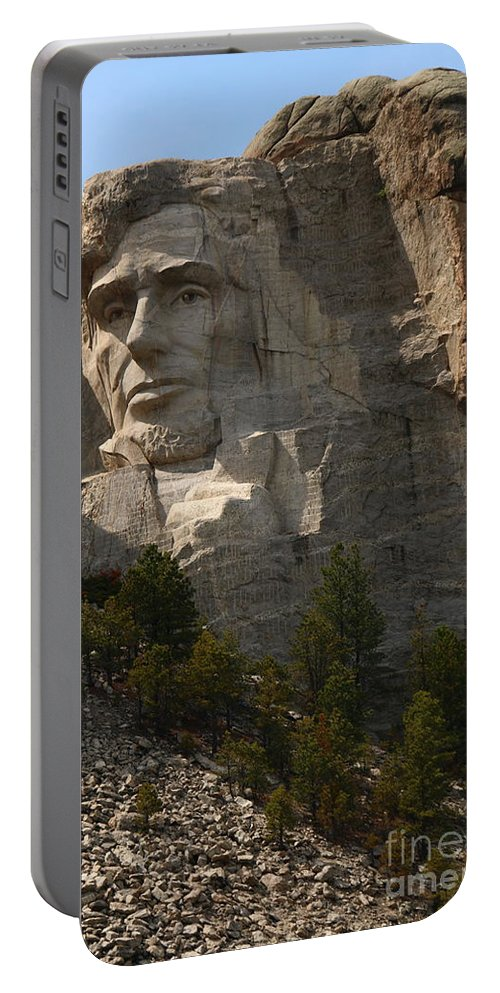 Mount Portable Battery Charger featuring the photograph Mount Rushmoore Detail - Abraham Lincoln by Christiane Schulze Art And Photography