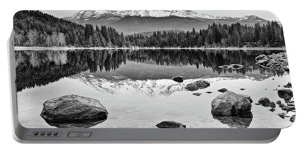 Mount Shasta Portable Battery Charger featuring the photograph Mount Shasta From Lake Siskiyou In California by Jamie Pham