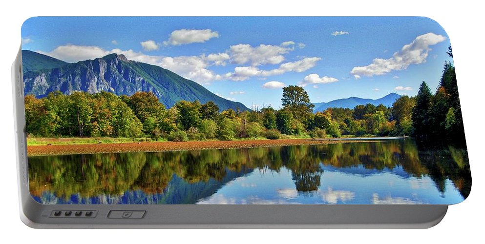 Afternoon Portable Battery Charger featuring the photograph Mount Si Overlooks Mill Pond by David Coleman