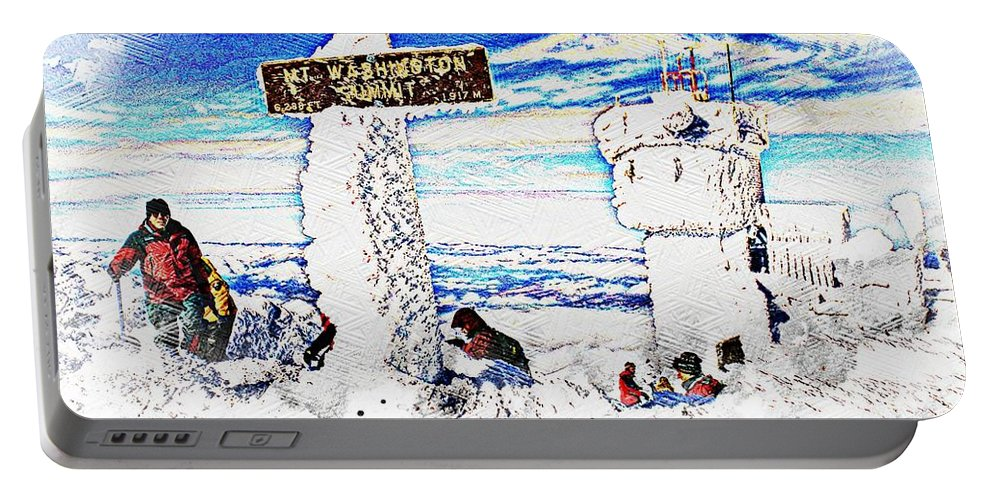 Ice Portable Battery Charger featuring the painting Mount Washington by Don Barrett