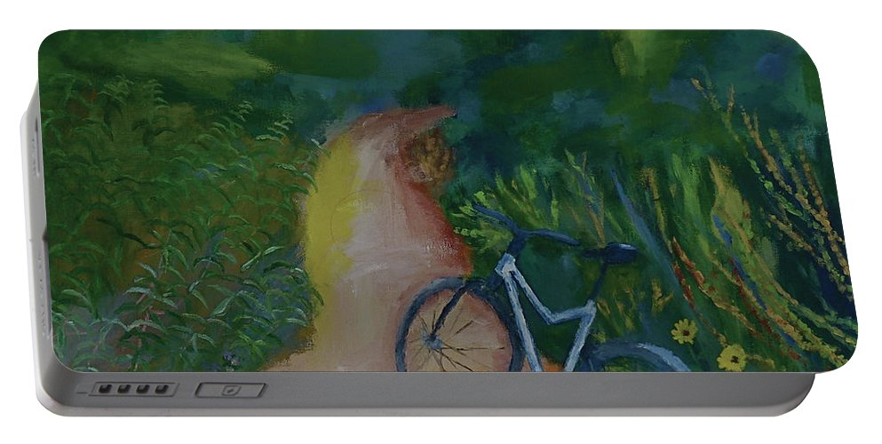 Mountain Biking Portable Battery Charger featuring the painting Mountain Biking In The Santa Monica Mountains by Stacey Best