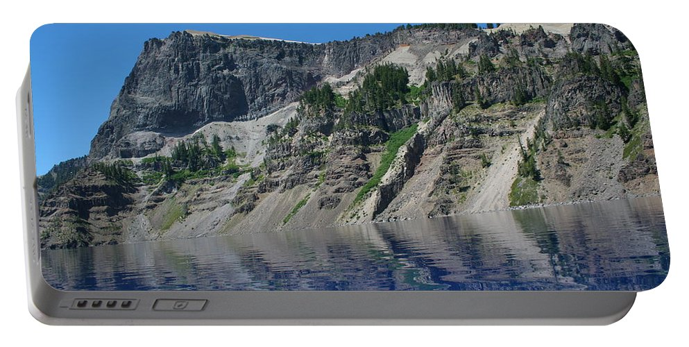 Crater Lake Portable Battery Charger featuring the photograph Mountain Blue by Laddie Halupa