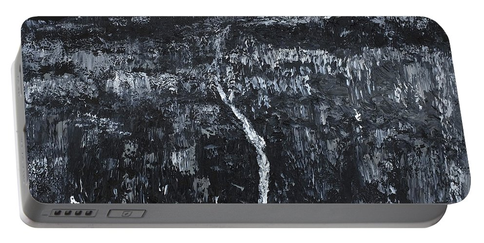 Black And White Portable Battery Charger featuring the painting Mountain Cascade by Dick Bourgault
