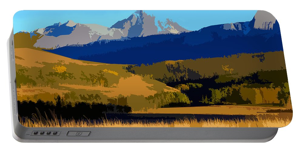 Mountains Portable Battery Charger featuring the painting Mountain Country by David Lee Thompson