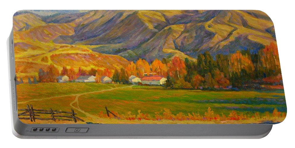 Portable Battery Charger featuring the painting Mountain by Deliang Ma