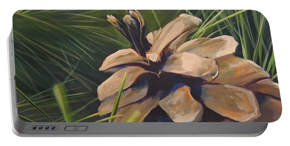 Pinecone Closeup Portable Battery Charger featuring the painting Mountain Echoes by Hunter Jay