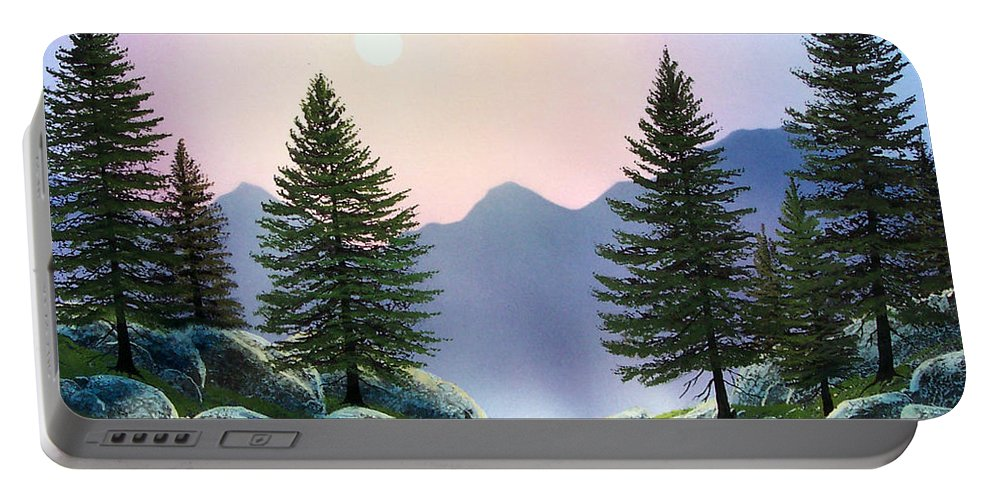 Landscape Portable Battery Charger featuring the painting Mountain Firs by Frank Wilson