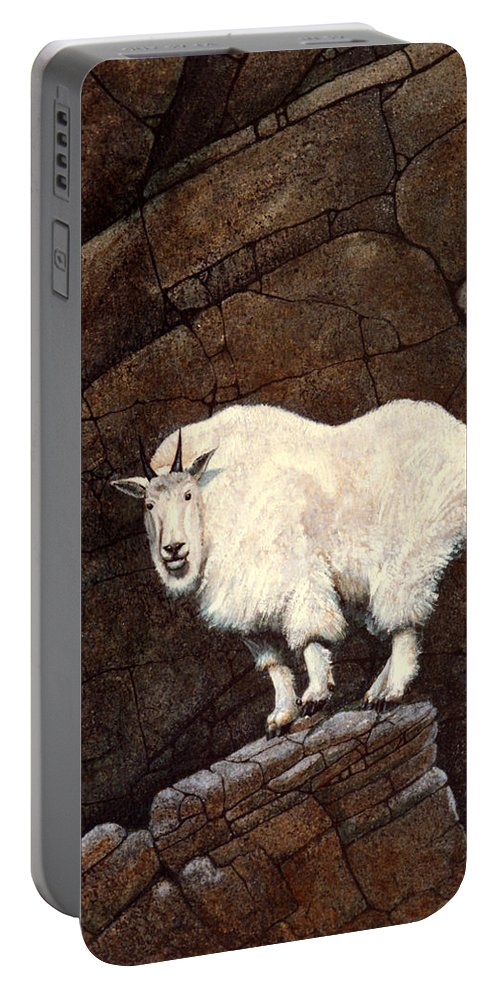 Wildlife Portable Battery Charger featuring the painting Mountain Goat by Frank Wilson