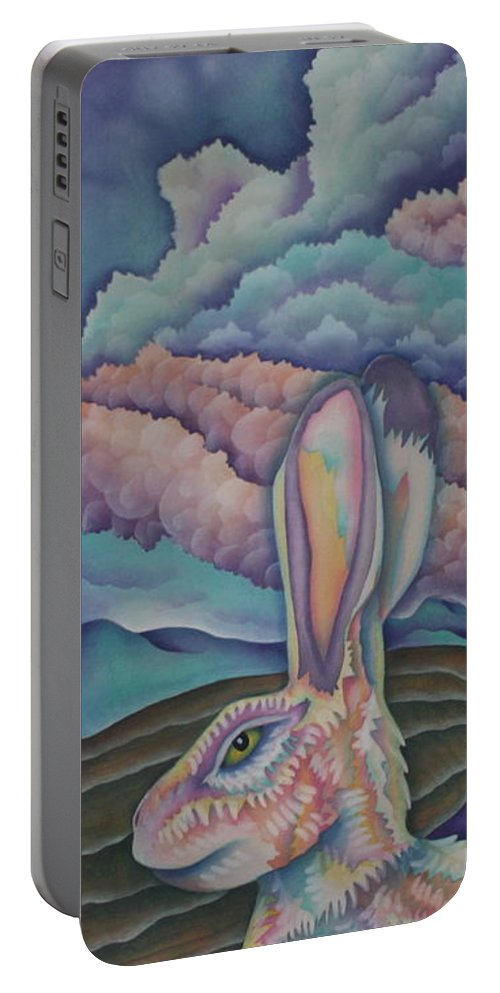 Rabbit Portable Battery Charger featuring the painting Mountain King by Jeniffer Stapher-Thomas