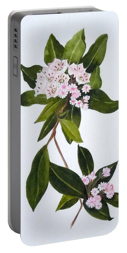 Mountain Laurel Portable Battery Charger featuring the painting Mountain Laurel by Jean Blackmer