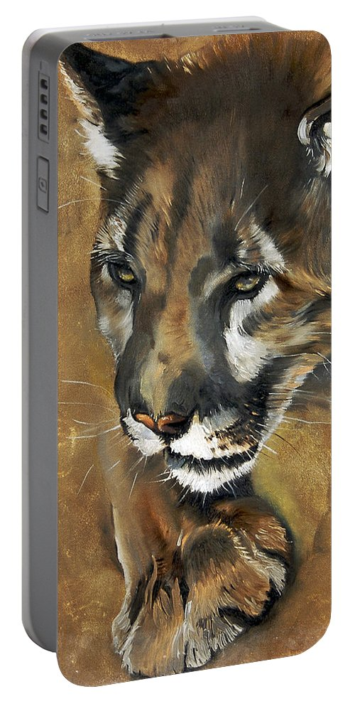 Southwest Art Portable Battery Charger featuring the painting Mountain Lion - Guardian Of The North by J W Baker