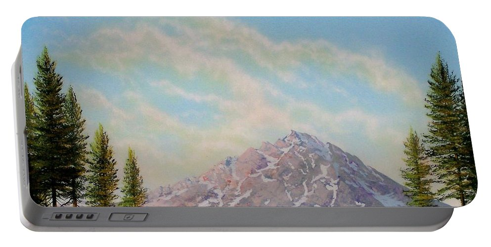 Wildflowers Portable Battery Charger featuring the painting Mountain Majesty by Frank Wilson