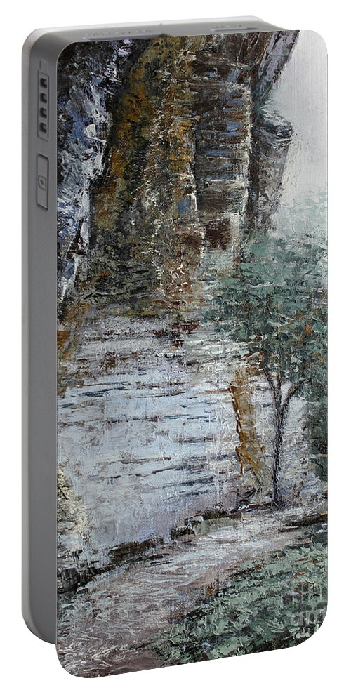 Landscape Portable Battery Charger featuring the painting Mountain Pass by Todd Blanchard
