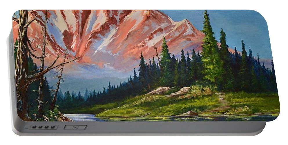 Mountains Portable Battery Charger featuring the painting Mountain Peaks by Stephen Broussard