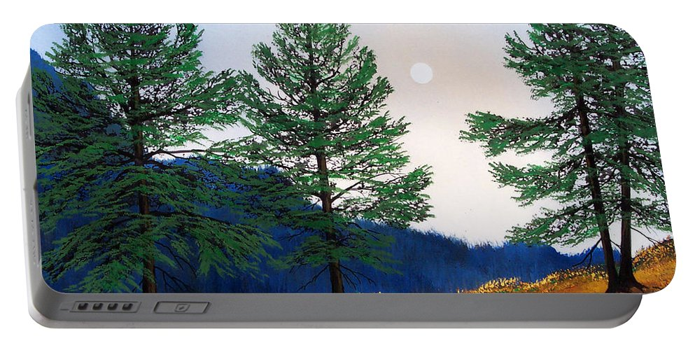 Portable Battery Charger featuring the painting Mountain Pines by Frank Wilson