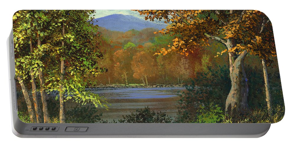 Landscape Portable Battery Charger featuring the painting Mountain Pond by Frank Wilson