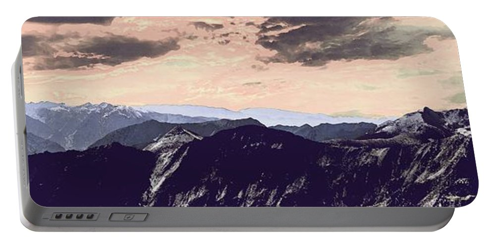 Nature Portable Battery Charger featuring the painting Mountain Range by Celestial Images