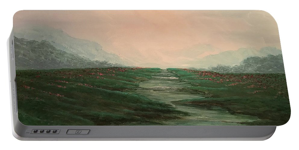 Mountain Portable Battery Charger featuring the painting Mountain River by KJ Burk