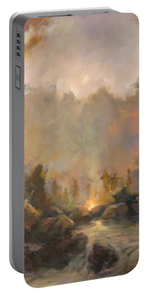 Landscape Indian Spirits Portable Battery Charger featuring the painting Mountain Spirits by E W Carlson