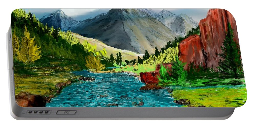 Nature Portable Battery Charger featuring the digital art Mountain Stream by David Lane