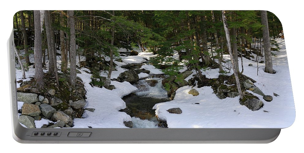 white Mountains Portable Battery Charger featuring the photograph Mountain Stream by Paul Mangold