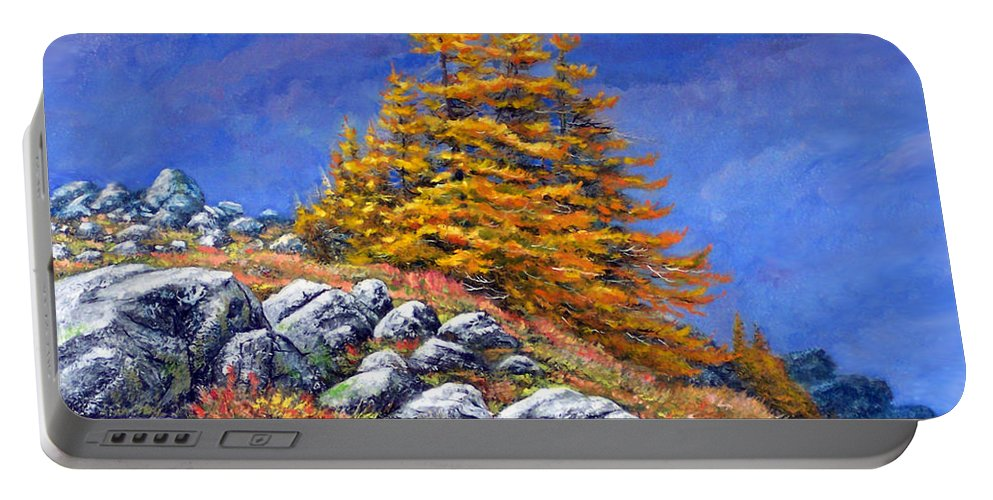 Mountains Portable Battery Charger featuring the painting Mountain Tamaracks by Frank Wilson