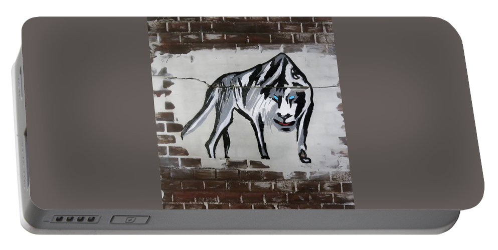 Brick Portable Battery Charger featuring the mixed media Mountain Tiger by Herman Cerrato