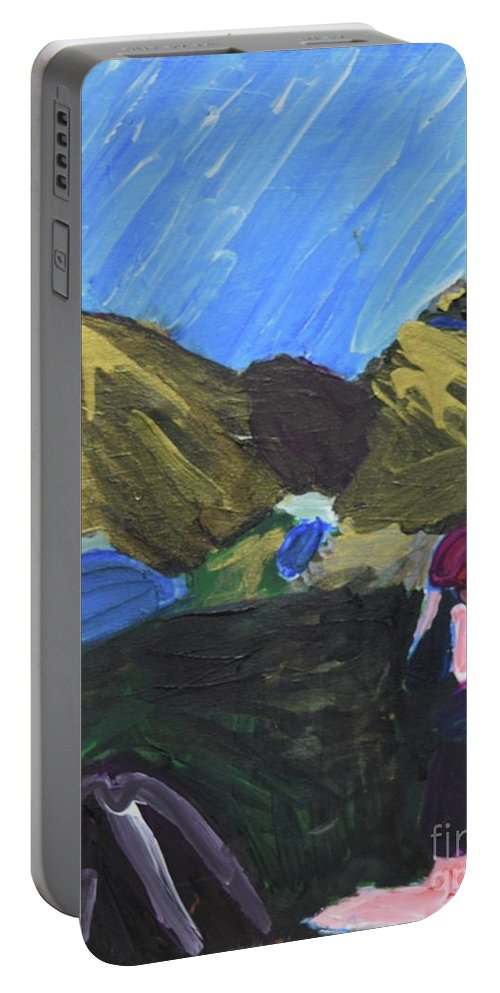 #hiking #art #fineart Portable Battery Charger featuring the painting Mountain Top by Aj Watson