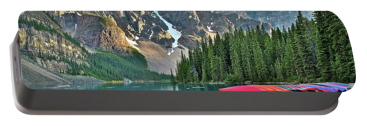 Lake Portable Battery Charger featuring the photograph Mountain Tranquility by Frozen in Time Fine Art Photography