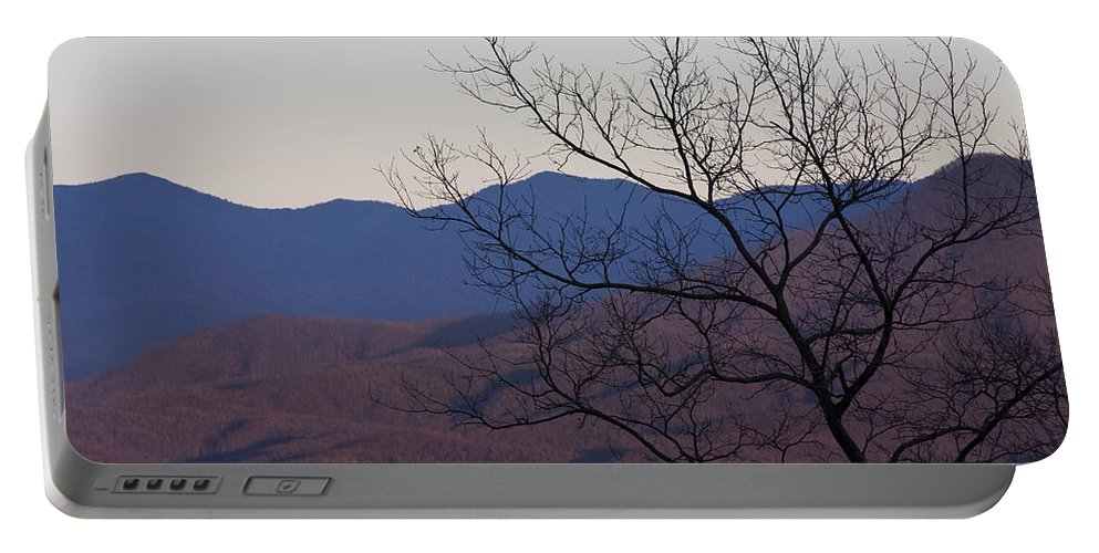 Tree Mountain Mountains Sun Sunset Sky Winter Smoky Park National Portable Battery Charger featuring the photograph Mountain Tree by Andrei Shliakhau