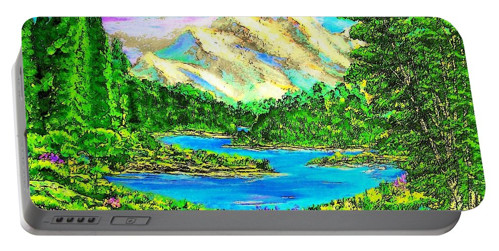 Mountains Portable Battery Charger featuring the painting Mountain Valley by Mary ann Barker