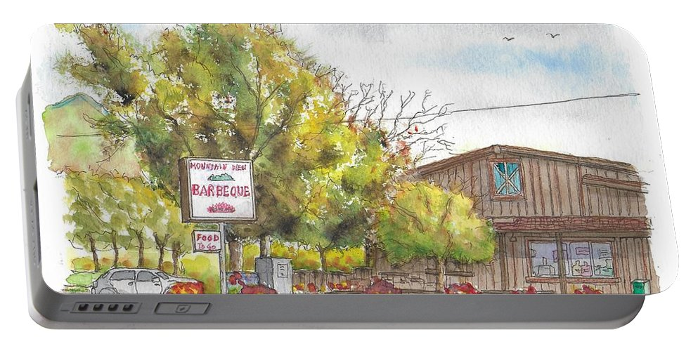 Montain View Barbeque Portable Battery Charger featuring the painting Mountain View Barbeque In Walker, California by Carlos G Groppa