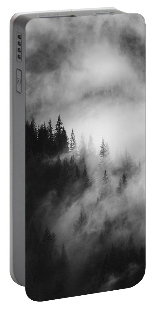 Forest Portable Battery Charger featuring the photograph Mountain Whispers by Mike Dawson