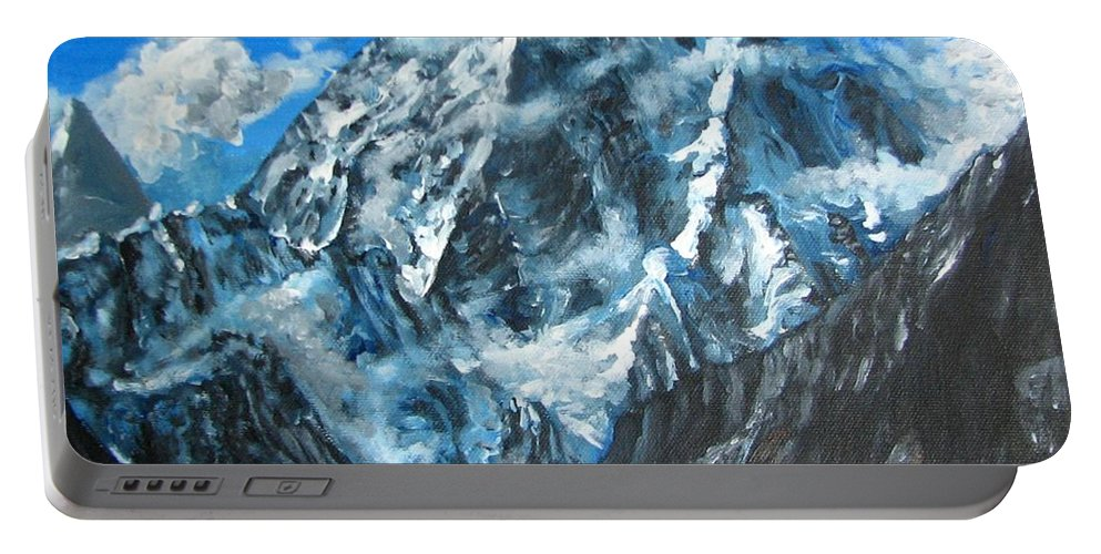 Mountains Portable Battery Charger featuring the painting Mountains View Landscape Acrylic Painting by Natalja Picugina