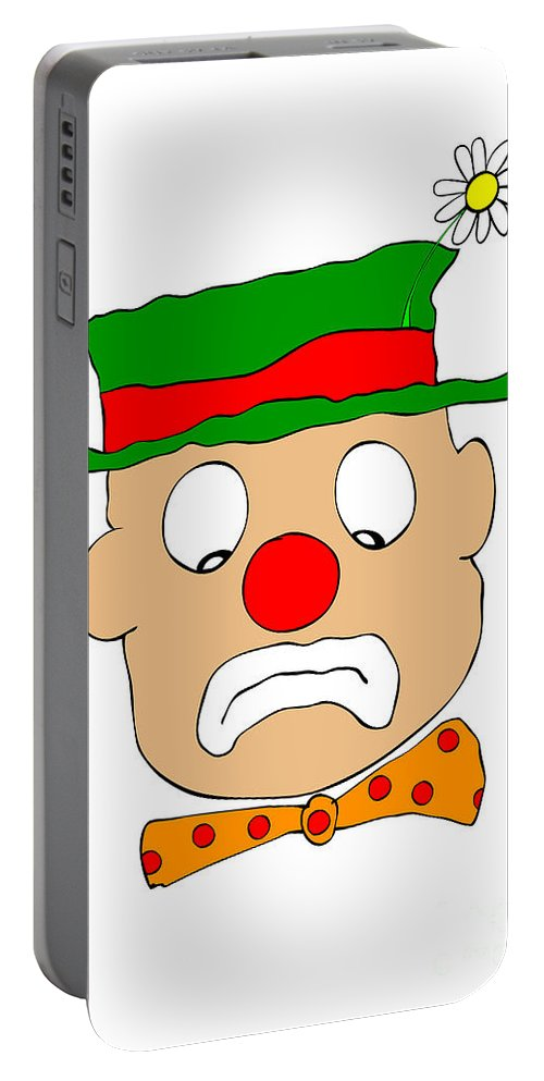 Clown Portable Battery Charger featuring the digital art Mournful Clown by Michal Boubin