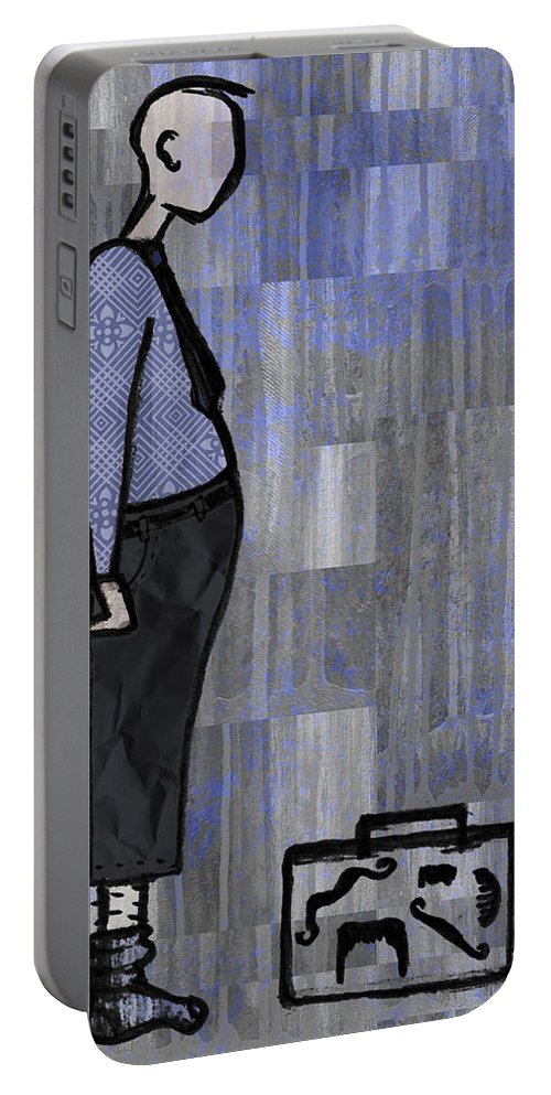 Salesman Portable Battery Charger featuring the digital art Moustache Salesman by Kelly Jade King