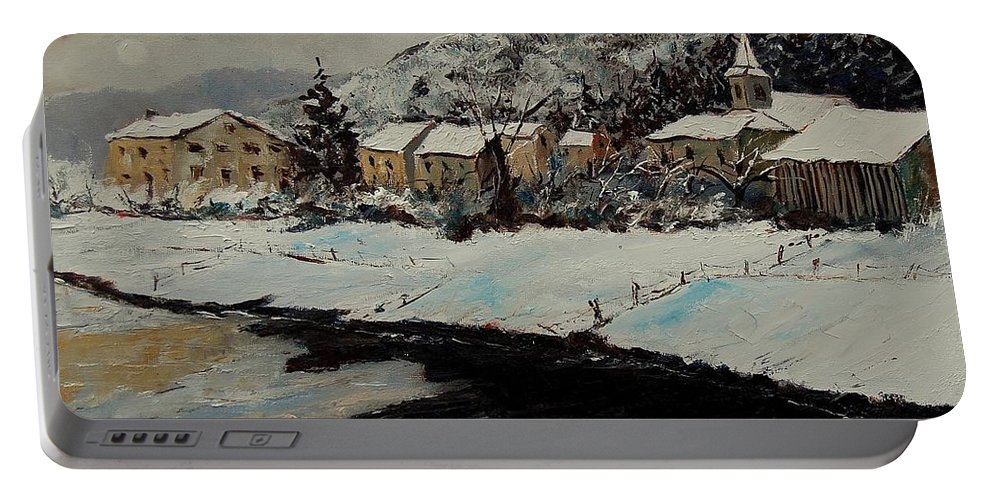 Landscape Portable Battery Charger featuring the painting Mouzaive by Pol Ledent