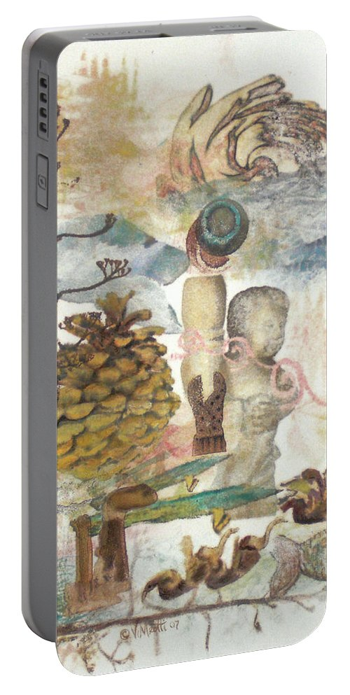 Abstract Portable Battery Charger featuring the painting Move Along by Valerie Meotti