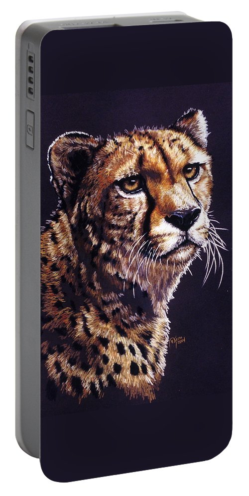Cheetah Portable Battery Charger featuring the drawing Movin On by Barbara Keith