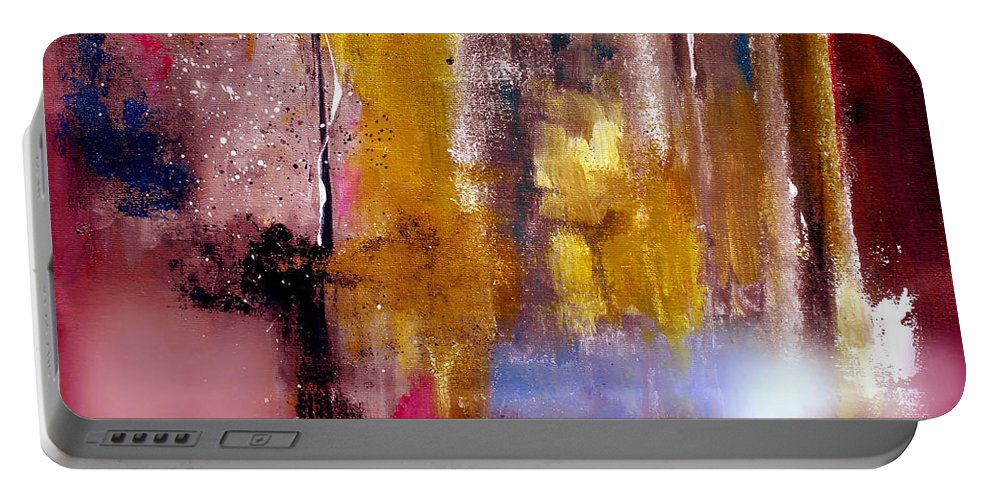 Abstract Portable Battery Charger featuring the painting Moving Light by Ruth Palmer