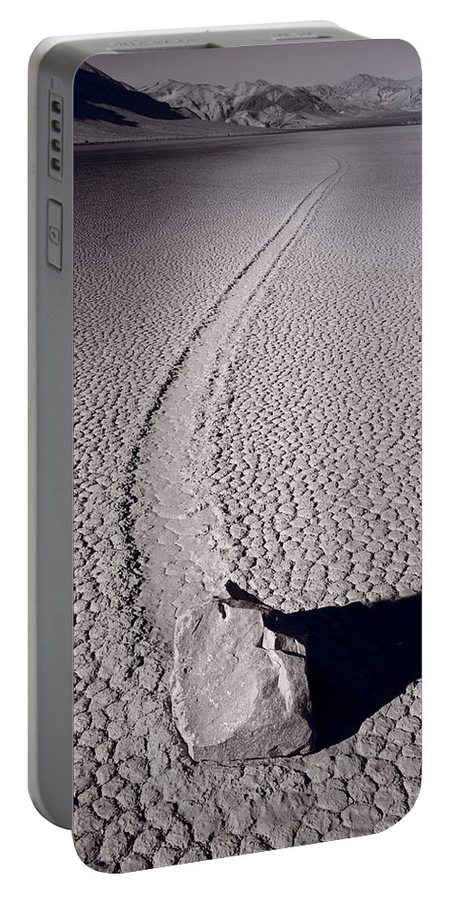 California Portable Battery Charger featuring the photograph Moving Rocks Number 2 Death Valley Bw by Steve Gadomski
