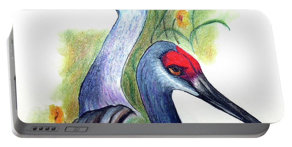 Birds Portable Battery Charger featuring the pastel Mr And Mrs Sandhill Cranes by Karin Dawn Kelshall- Best