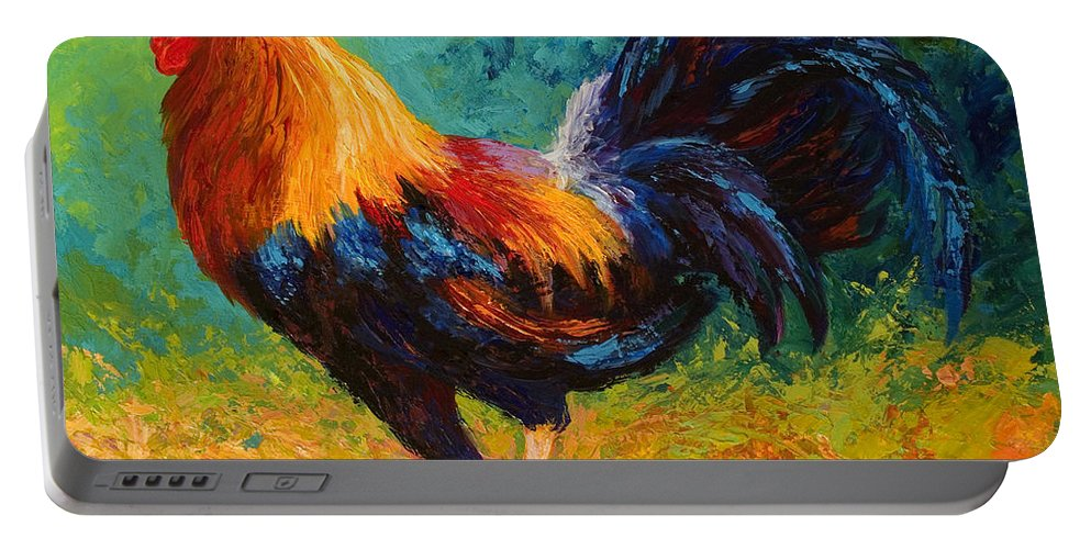 Rooster Portable Battery Charger featuring the painting Mr Big by Marion Rose